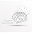 speech bubble low poly wire frame on white vector image vector image