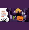 trick or treat halloween background with pumpkin vector image vector image