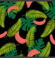 tropical leaves with bananas tropical leaves vector image vector image