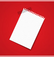 white blank paper note on red background vector image vector image