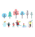 winter child with snowman family and trees vector image vector image