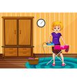 Woman ironing clothes in the house vector image