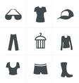 fashion icon set black version vector image