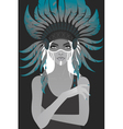 Beautiful girl in a headdress of feathers vector image