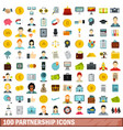 100 partnership icons set flat style vector image vector image
