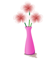 A pink flowervase with flowers vector image vector image