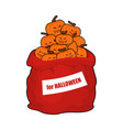 bag scary pumpkins for halloween full sack of vector image
