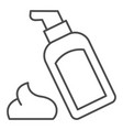 body lotion thin line icon cosmetic bottle vector image