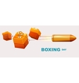 Boxing day text Box gifts tied to bullet fly vector image vector image