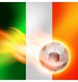 Burning football on Ireland flag background vector image vector image