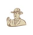 Businessman Fedora Hat Vintage Etching vector image vector image