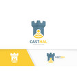 castle and wifi logo combination tower and vector image vector image