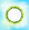 Circle frame with green grass chamomiles on sky vector image vector image