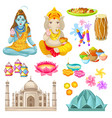 colorful indian culture elements set vector image