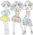 cute fashion girls in t-shirts and skirts vector image vector image