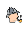 detective sherlock holmes with smoking pipe flat vector image vector image