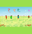 four children are playing a kite with a 2019 vector image