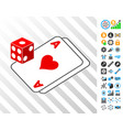 gambling dice and cards cards with bonus vector image