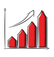 growth chart icon with shadow schedule growth vector image