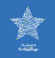 Handwritten Holiday star card Word Cloud design vector image vector image
