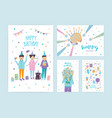 happy birthday cards set collection cartoon vector image