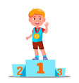 happy children on a sports pedestal with gold vector image vector image