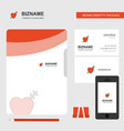heart business logo file cover visiting card and vector image vector image