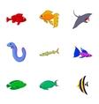 Inhabitants of sea icons set cartoon style vector image vector image