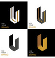 isometric set letter u black white gold palette vector image vector image