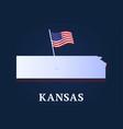 kansas state isometric map and usa national flag vector image vector image