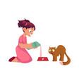 little girl pouring milk for her cat feeding pet vector image vector image