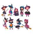 lovely little witches collection cute girls vector image vector image