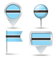 Map pins with flag of Botswana vector image