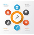 medicine icons set collection of heal pellet vector image vector image