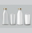 milk bottle and glass empty and full milk vector image vector image