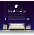 modern bedroom with night sky wallpaper background vector image vector image