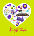 night club promotional poster with attributes for vector image