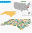 North Carolina map vector image vector image