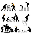 pictograph scene looking down and bending vector image vector image