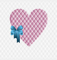 pink heart with a blue bow vector image vector image