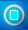 postal stamp icon isolated on blue background vector image vector image