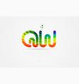 qw q w rainbow colored alphabet letter logo vector image vector image