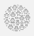 robots round circular symbol vector image vector image