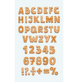 set gingerbread cookies abc numbers signs vector image vector image