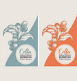 set labels for coffee beans in retro style vector image vector image