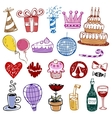 Set of Birthday doodles vector image vector image