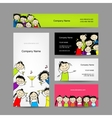 Set of business cards design with party girls vector image vector image