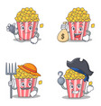 set of popcorn character with doctor money mouth vector image vector image