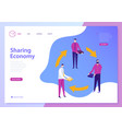 sharing economy landing page web concept vector image vector image