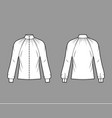 shirred high-cut neck blouse technical fashion vector image vector image